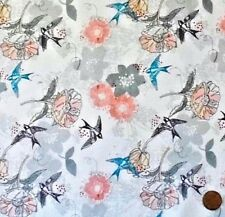 SWALLOWS ON WHITE FROM THE MARBELLA COLLECTION BY CRAFT COTTON FABRIC FQ'S