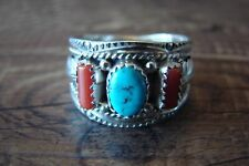 Native American Jewelry Sterling Silver Turquoise Coral Ring! Size 10 - Begaye