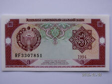 UZBEKISTAN 3 SUM UNCIRCULATED BANK NOTE-CONSECUTIVE SERIAL NUMBER MONEY-ROW-BILL