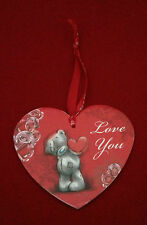 ME TO YOU BEAR TATTY TEDDY WOODEN HEART HANGING PLAQUE - LOVE YOU - GIFT