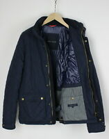 TOMMY HILFIGER Men SMALL Quilted Nylon Shell Patch Corduroy Trim Jacket 29625-JS
