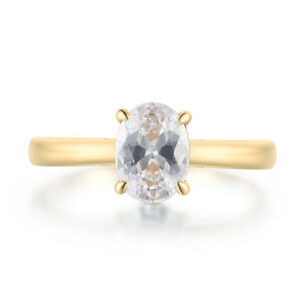 Classical Simple Style Ring Solid 14K Yellow Gold Cubic Zirconia Oval Cut 8x6mm