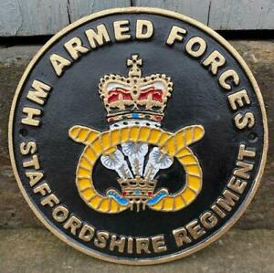 STAFFORDSHIRE REGIMENT - Painted Cast Iron Wall Sign - HM ARMED FORCES - 24cm
