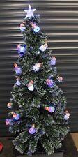 FIBRE OPTIC CHRISTMAS TREE 150CM 5FT TALL WIT 24 LED BLUE & WHITE SNOWMAN LIGHTS
