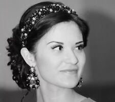 Handmade Bridal Headband Tiara made with Swarovski Crystal Beads & Pearls