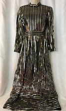 Antique Vtg Edwardian Victorian Art Deco Maxi Dress 70s Retro Gold Black Sequins