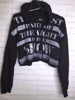 Guess Los Angeles Hooded Long Sleeve Black Sweatshirt Crop Top Womens Size L