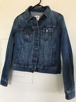 Old Navy Women's Denim Dark Blue Jean Jacket Size Small Button Front Cotton