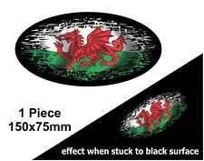 Oval FADE TO BLACK Welsh Dragon Wales CYMRU Flag vinyl car sticker Decal 150mm