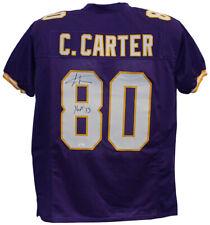 Cris Carter Autographed/Signed Pro Style Purple XL Jersey HOF JSA 26621