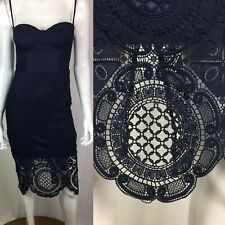 $109 Lioness Womens Medium Navy Lace Bodycon Corset Pencil Sheath Cocktail Dress
