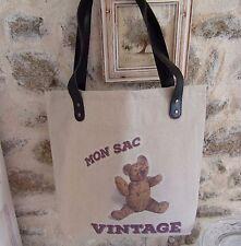 """sac cabas porté épaule """"mon sac vintage"""" tissu motif nounours ours en peluche"""