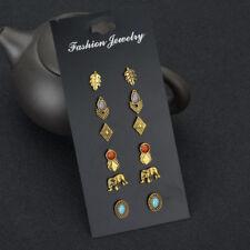 6Pair Vintage Women Bronze Elephant Leaf Turquoise Ear Stud Earrings Jewelry Set