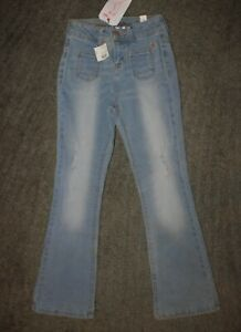Justice Girls High Waist Super Skinny Flare Blue Jeans - Size 7 - NWT