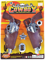New Cowboy Twin Holster Gun Toy Set Wild West Fancy Dress Child Accessory Adult
