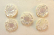 VINTAGE 5 PIECE LOT MOTHER OF PEARL ETCHED BUTTONS *