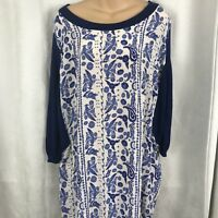 Rebecca Minkoff Dress Navy & White Print Silk & Knit Combo SZ M