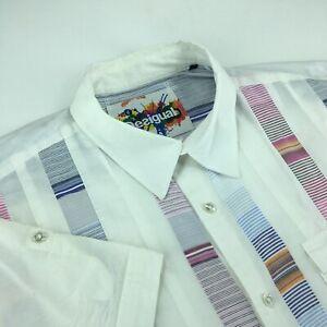 Men's Desigual Short Sleeve Shirts Casual White / Blue / Pink Size - XL