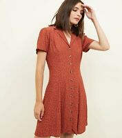 New Look Rust Polka Dot Dress Size 6