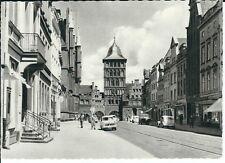 """Ansichtskarte Hansestadt Lübeck """"Burgtor"""" alte Autos - selten - schwarz/weiß"""