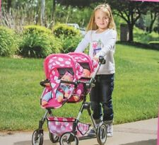 "LISSI DOLL DOUBLE STROLLER FITS 2 DOLLS UP TO 18"" COLOR: PINK POLKA DOTS  NEW"