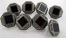 (8 pieces) BLACK ONYX Square polished stone in center Button Silver / Black NEW