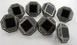 BUTTONS 8 PIECES BLACK ONYX Square polished stone in center Button Silver