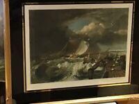 EARLY 20th Century...Coloured Mezzotint of Naval Scene...Original Label VERSO