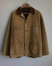 Vintage Carhartt Michigan Blanket Lined Tan Brown Worker Chore Jacket Men's XL