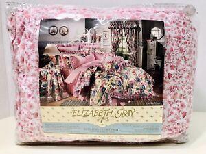 Elizabeth Gray Vintage 1990's Garden Vine Floral Bed Skirt Dust Ruffle Twin