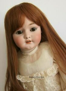 """perruque Auburn châtain Jumeau®T42/44cm-poupée ancienne moderne-doll wig sz17"""""""