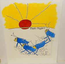 """HARRISON STORMS """"DAWN DIGGERS"""" ANIMATION WATERCOLOR PAINTING DATED 1996"""