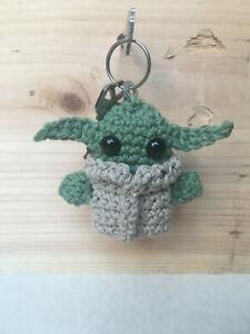 Handmade Crochet Mini Baby Yoda Keychain