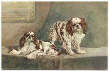 2 Japanese spaniel Chin dog beautiful old artist postcard