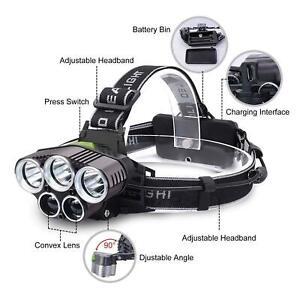 90000LM 5X CREE T6 LED Headlamp Headlight Flashlight Head Torch +Battery charger