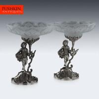 ANTIQUE 19thC VICTORIAN SOLID SILVER PAIR OF FIGURAL COMPORTS, C & G FOX c.1852