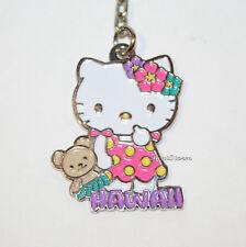 Hello Kitty Hawaiian Girl Teddy Bear HAWAII Metal Charm Key Ring Chain Keychain