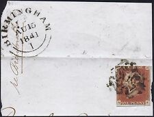 1841 1d Red Plate 13 NE Basal Shift and TRL Birmingham Cat. £190.00