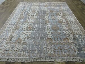Traditional Bamboo Silk Oushak Rug 9.11X8.3 Feet Oriental Rug Excellent Fabric