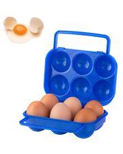 Outdoor Camping BBQ Plastic Carton Holder Egg Storage Box Blue Shockproof New