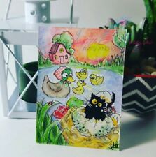 ACEO #243 ORIGINAL painting black cat mouse fantasy ducks fairytale whimsical