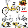 "Adult 24"" 3-Wheel Shimano 7-Speed Tricycle Trike Bicycle Bike Cruise With Basket"