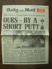 VINTAGE NEWSPAPER DAILY MAIL SEPTEMBER 25th 1989 EUROPE RETAINS THE RYDER CUP