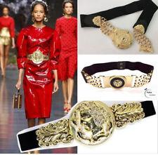 Vintage Women Gold Metal Elastic Stretch Floral Waistband Waist Wide Belt Buckle