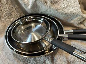 """Tramontina 18/10 Stainless Steel 3 Pc Frying Pan Set 8"""" 10"""" 12"""""""