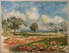 Peinture Original Gouache EDOUARD GOERG (1893-1969) Champs EG23