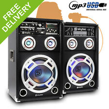 "Pair of Skytec 10"" PA Active Speakers Set RGB LED Karaoke DJ Disco Party 800W"