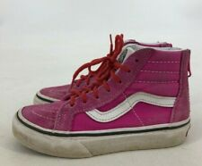Vans Girls Hightop Pink White Leather Sneakers Skateboard Shoe Zipper Size 11.5