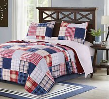 HAMPTON PLAID Twin Single QUILT SET : AMERICANA RED WHITE BLUE PATRIOTIC COUNTRY