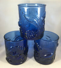 3 Cobalt Blue Low Ball Tumblers Glass Embossed Shells Fish Starfish Sea Life ???